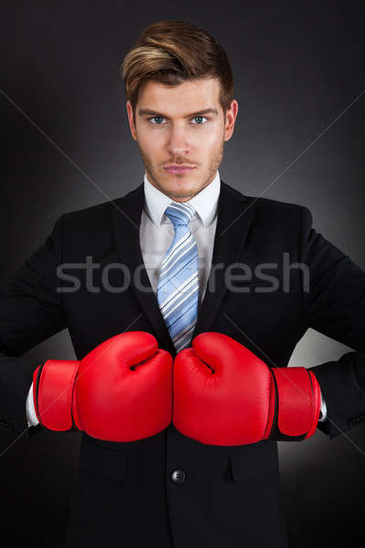 Agressif affaires gants de boxe portrait noir Photo stock © AndreyPopov