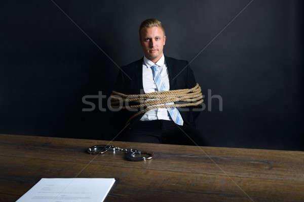 üzletember kötél ül asztal portré fiatal Stock fotó © AndreyPopov