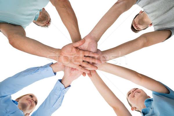 люди рук вместе мнение белый Сток-фото © AndreyPopov