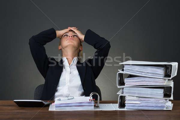 Fáradt üzletasszony kezek fej asztal ül Stock fotó © AndreyPopov