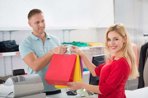 Mutlu müşteri satıcı depolamak Stok fotoğraf © AndreyPopov