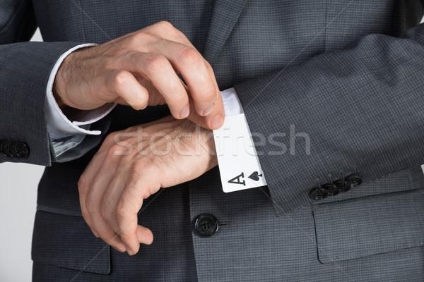 Empresário ás cartões manga escritório negócio Foto stock © AndreyPopov