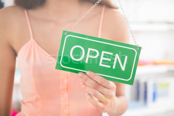 Owner Holding Open Sign In Clothing Store Stock photo © AndreyPopov