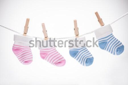 Pár baba zokni dollár akasztás kötél Stock fotó © AndreyPopov
