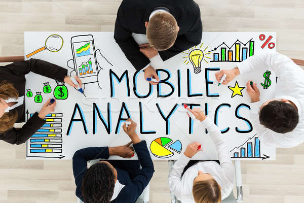 Tekening mobiele analytisch bureau Stockfoto © AndreyPopov