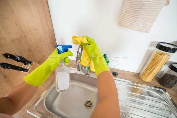 Woman Hand Cleaning The Kitchen Sink Stock photo © AndreyPopov