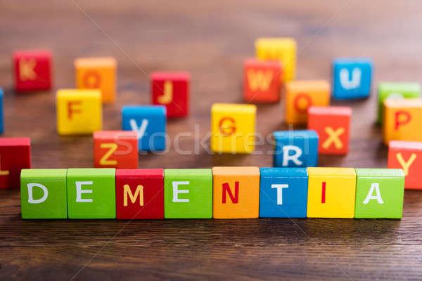 Zwakzinnigheid tekst gekleurd houten tafel business Stockfoto © AndreyPopov