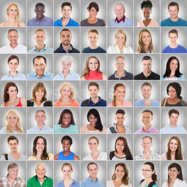Collage Of People On Gray Background Stock photo © AndreyPopov