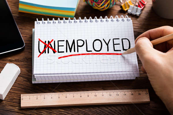 Stock fotó: Személy · kéz · munkanélküliség · magasról · fotózva · kilátás · állástalan
