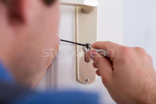Strony drzwi uchwyt domu Zdjęcia stock © AndreyPopov