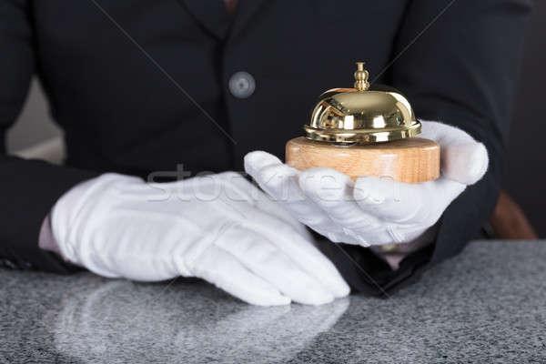 Cameriere servizio campana primo piano mano Foto d'archivio © AndreyPopov