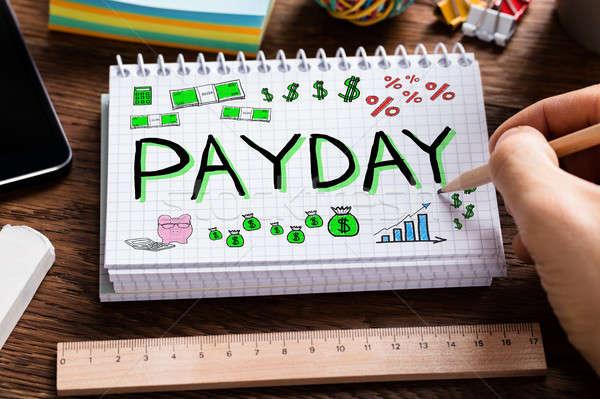 Betaaldag werknemer inkomen man tekening woord Stockfoto © AndreyPopov
