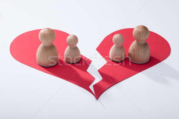 Fából készült összetört szív törött piros szív fehér Stock fotó © AndreyPopov