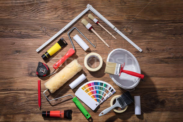 House Made With Painting Equipments And Measuring Tape Stock photo © AndreyPopov