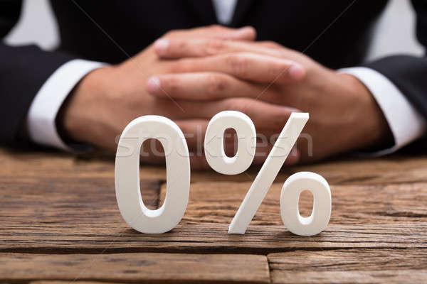 Közelkép nulla százalék szimbólum fehér iroda Stock fotó © AndreyPopov