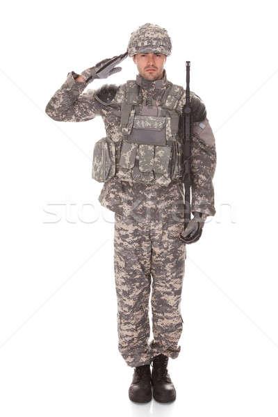 Portre adam güvenlik savaş asker Stok fotoğraf © AndreyPopov