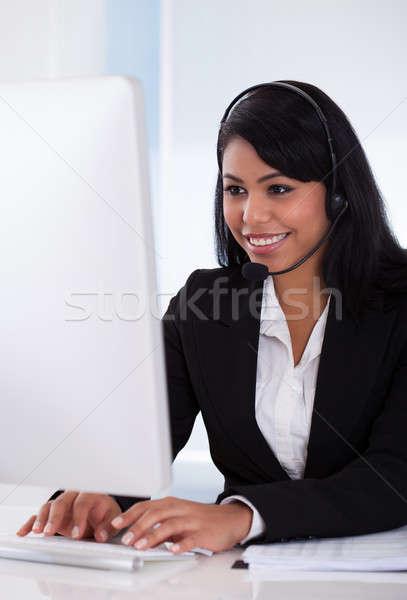 Homme client représentant portrait fille Photo stock © AndreyPopov