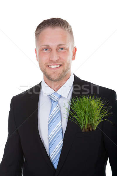 Smiling businessman with a fresh green plant in his pocket Stock photo © AndreyPopov