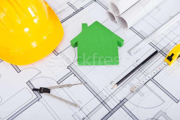 Szerszámok munkavédelmi sisak modell ház terv közelkép Stock fotó © AndreyPopov
