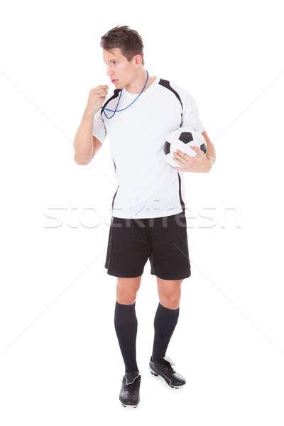 Futball döntőbíró tart futball portré fiatal Stock fotó © AndreyPopov