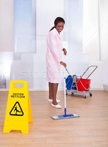 женщины экономка очистки полу отель Сток-фото © AndreyPopov