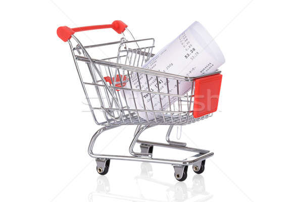 Shopping Trolley With Rolled Receipts Stock photo © AndreyPopov