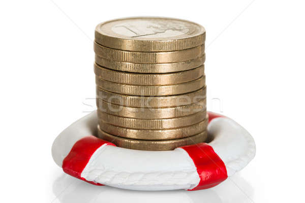 Stack Of Coins With Lifebelt Stock photo © AndreyPopov