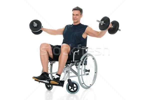 Zdjęcia stock: Upośledzony · człowiek · wózek · biały
