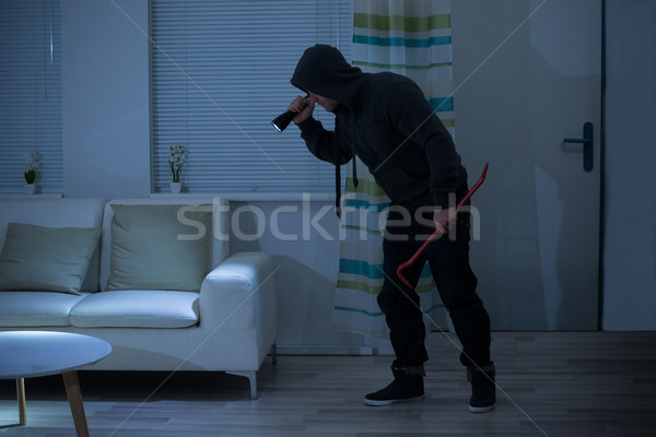 Robber With Crowbar And Flashlight In Living Room Stock photo © AndreyPopov