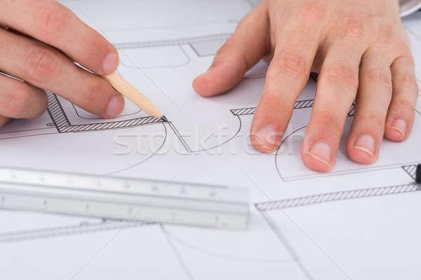Architect hand werken blauwdruk kantoor Stockfoto © AndreyPopov