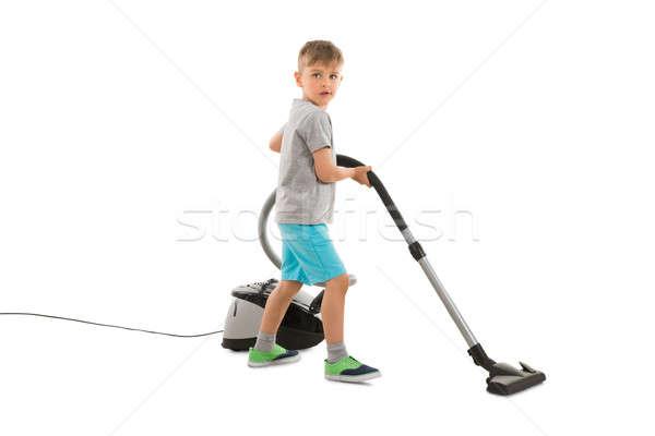 мальчика пылесос белый ребенка рабочих службе Сток-фото © AndreyPopov