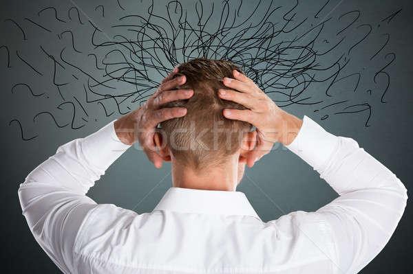 Aggódó hangsúlyos üzletember döntésképtelenség problémák felirat Stock fotó © AndreyPopov