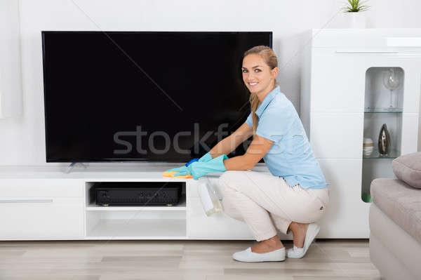 Kobieta czyszczenia domu młoda kobieta meble domu Zdjęcia stock © AndreyPopov