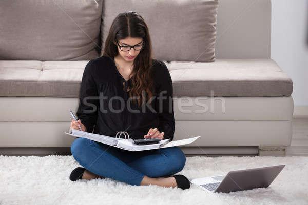 女性 ホーム 若い女性 座って ソフト ストックフォト © AndreyPopov
