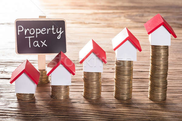 Property Tax Text On Small Black Board Stock photo © AndreyPopov