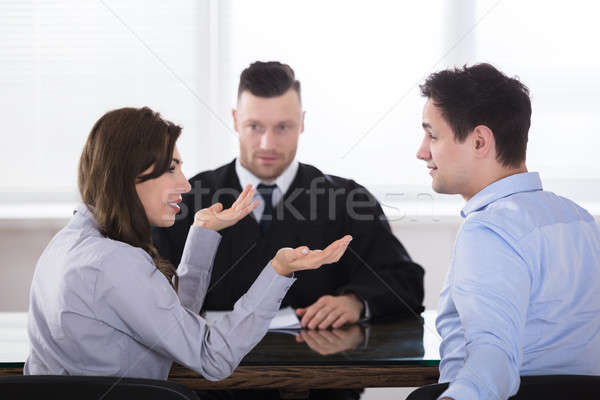 Stock photo: Couple Arguing With Each Other In Front Of Judge