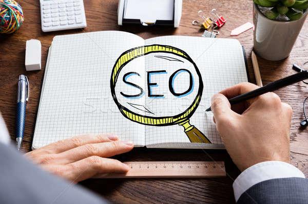 Man Drawing SEO Search Engine Optimization  Stock photo © AndreyPopov
