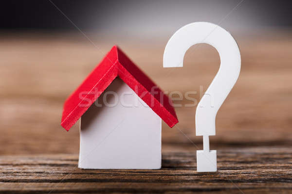 Small Model House By Question Mark On Wood Stock photo © AndreyPopov