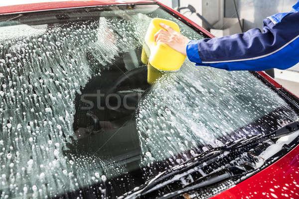Mão limpeza carro pára-brisas esponja pessoas Foto stock © AndreyPopov