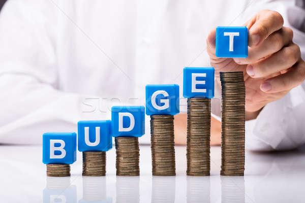 человек блоки бюджет слово монетами Сток-фото © AndreyPopov