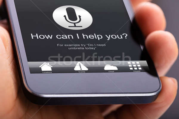 Voice Recognition Function On Mobile Phone Stock photo © AndreyPopov
