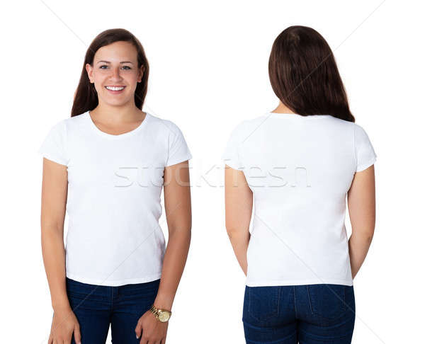 Beautiful Woman In Blank White T-shirt Stock photo © AndreyPopov