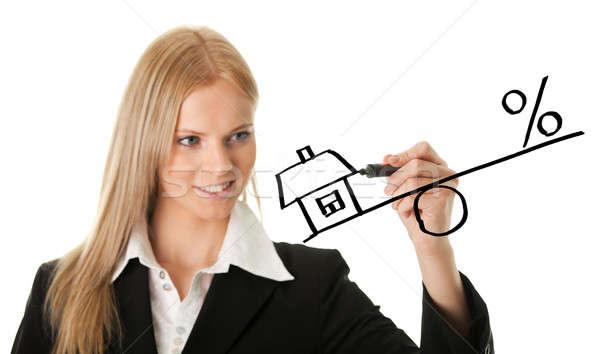 Femme d'affaires dessin hypothèque illustration isolé blanche Photo stock © AndreyPopov