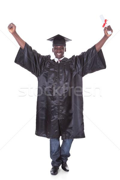 Stock fotó: érettségi · férfi · kar · kiemelt · diploma · kéz