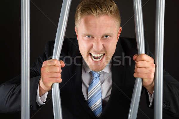 Empresario cárcel bares retrato agresivo Foto stock © AndreyPopov