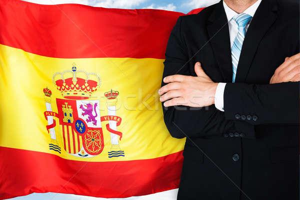 クローズアップ ビジネスマン スペイン国旗 ビジネス 男 フラグ ストックフォト © AndreyPopov