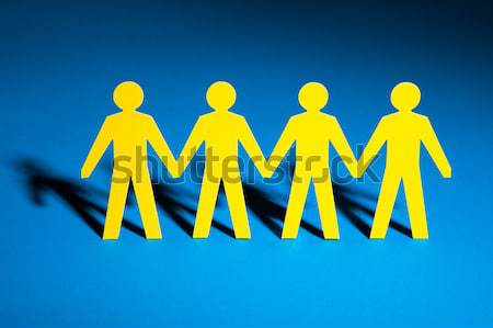 Yellow Paper Team Representing Unity Stock photo © AndreyPopov