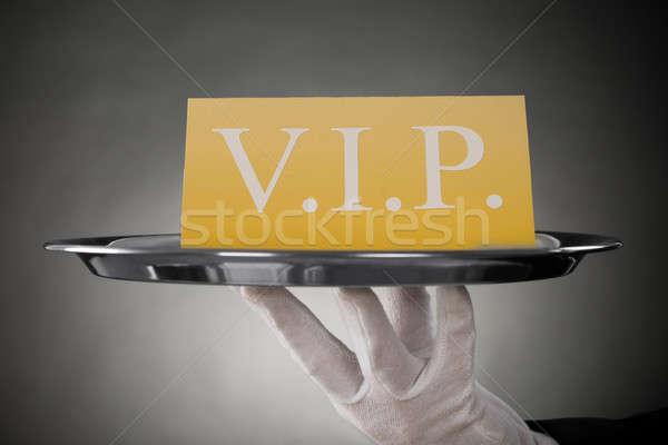 De ober tonen vip tekst banner Stockfoto © AndreyPopov