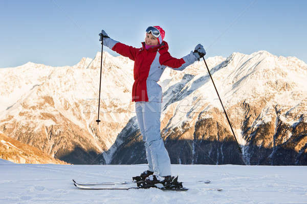 Woman Skiing In Solden; Otztal Alps; Tirol; Austria Stock photo © AndreyPopov