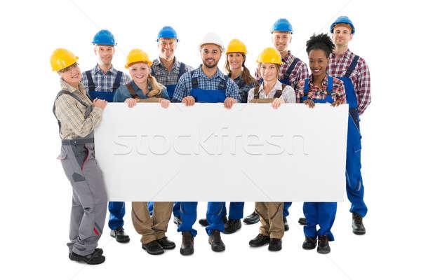 Photo stock: Heureux · construction · travailleurs · Billboard · portrait